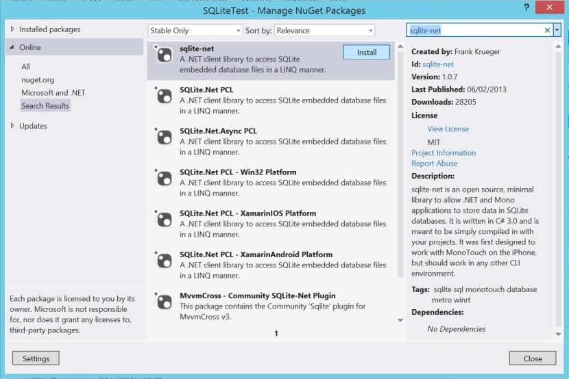 sqlite-net NuGet Package