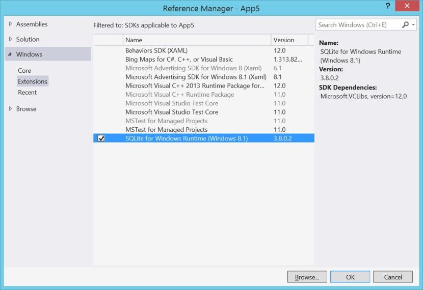 SQLite Windows Runtime Libraries