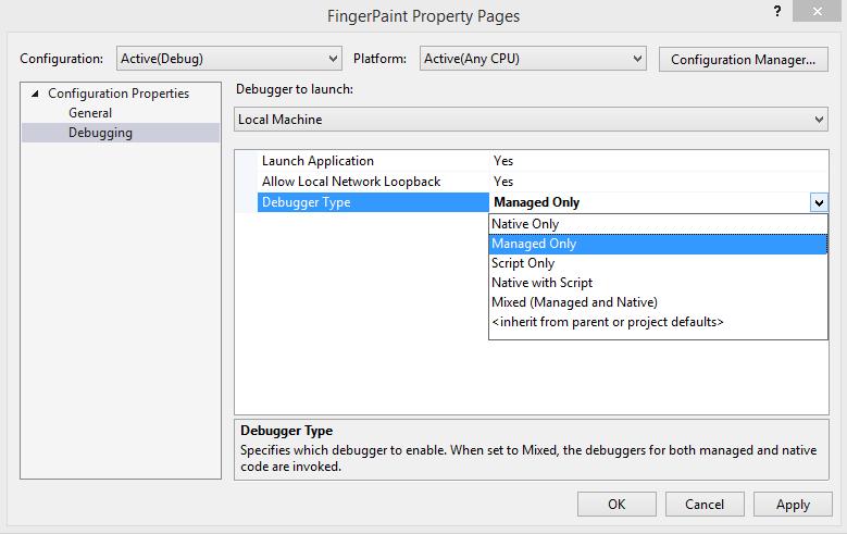 Script or Managed debug