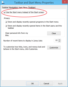Use Start Menu in Windows 10